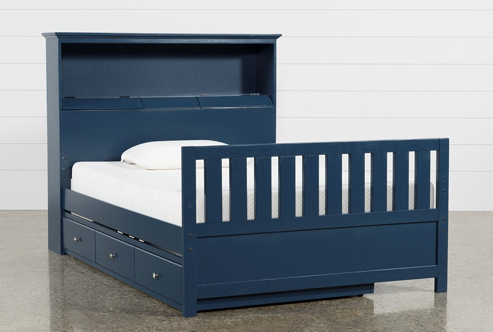Taylor Navy Full Bookcase Bed With Trundle and USB