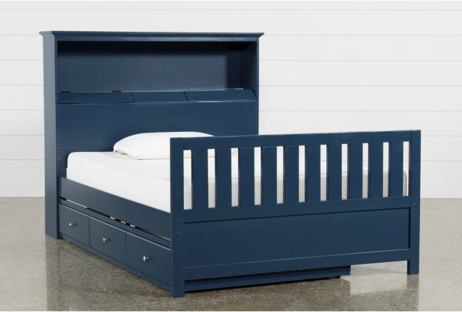 Taylor Navy Full Bookcase Bed With Trundle and USB - 360