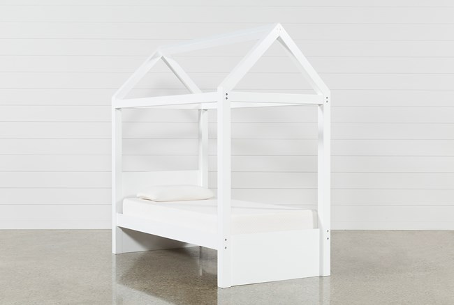 Taylor White Twin Canopy House Bed - 360