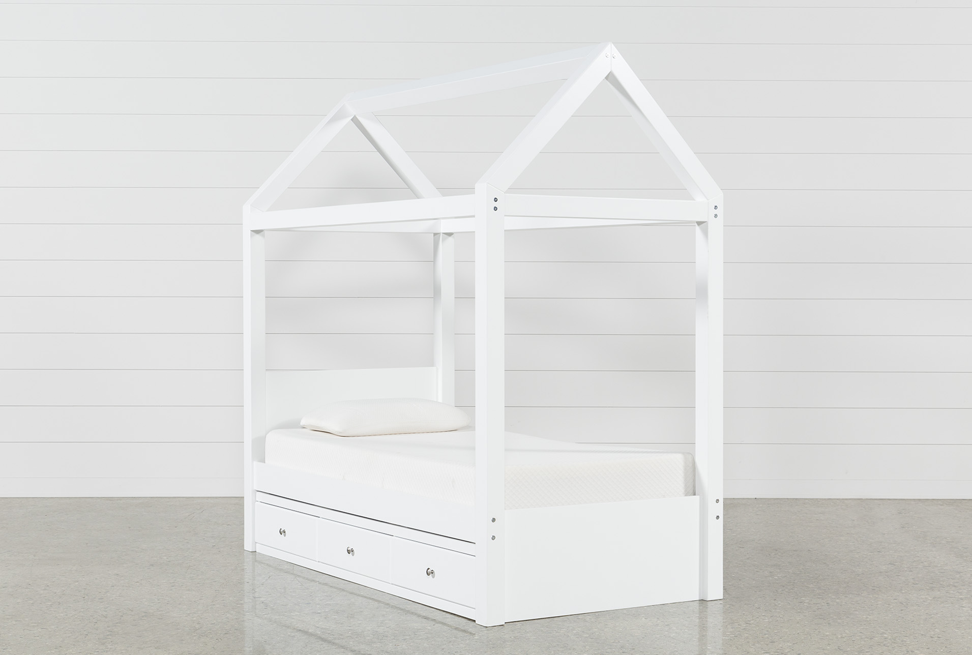- Taylor White Twin Canopy House Bed With 3- Drawer Storage Living