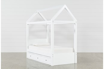 Taylor White Twin Canopy House Bed With 3- Drawer Storage
