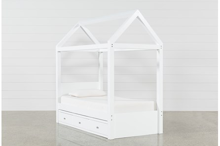 Taylor White Twin Canopy Bed With 3- Drawer Storage - Main