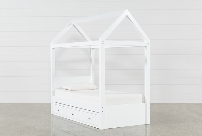 Taylor White Twin Canopy House Bed With 3- Drawer Storage - 360