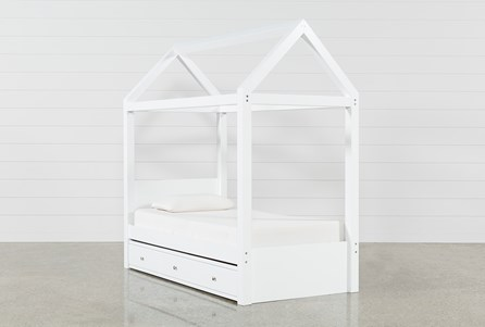 Taylor White Twin Canopy House Bed With Trundle