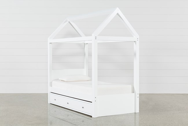 Taylor White Twin Canopy House Bed With Trundle - 360