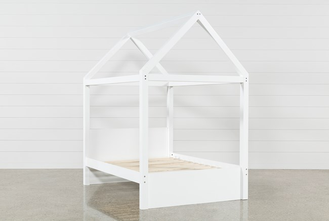 Taylor White Full Canopy House Bed - 360