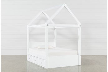 Taylor White Full Canopy House Bed With 3- Drawer Storage
