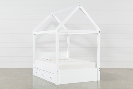Taylor White Full Canopy Bed With 3- Drawer Storage