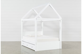 Taylor White Full Canopy House Bed With Trundle