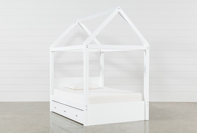 Taylor White Full Canopy House Bed With Trundle - 360