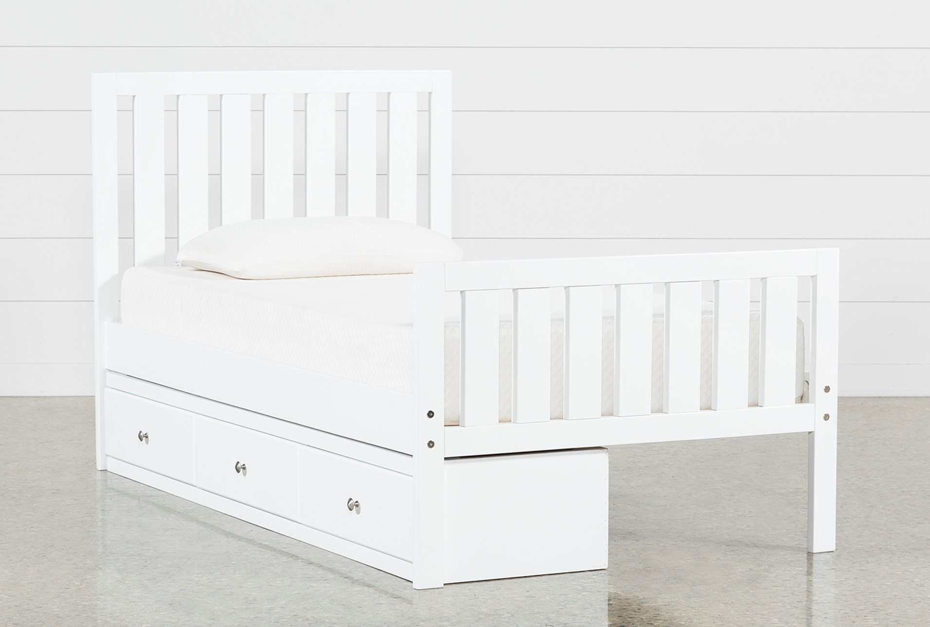 f64471218be2 Taylor White Twin Slat Panel Bed With 3- Drawer Storage (Qty  1) has been  successfully added to your Cart.