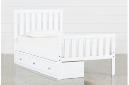 Taylor White Twin Slat Panel Bed With 3-Drawer Storage