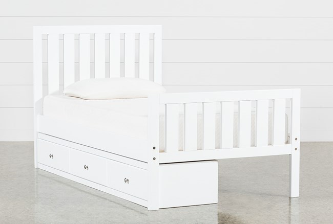 Taylor White Twin Slat Panel Bed With 3-Drawer Storage - 360