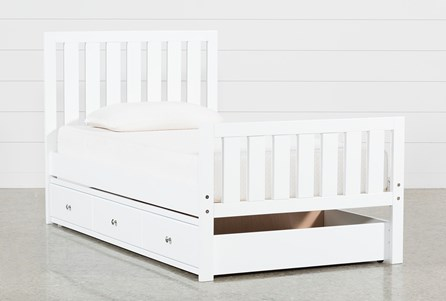 Taylor White Twin Slat Panel Bed With Trundle | Living Spaces