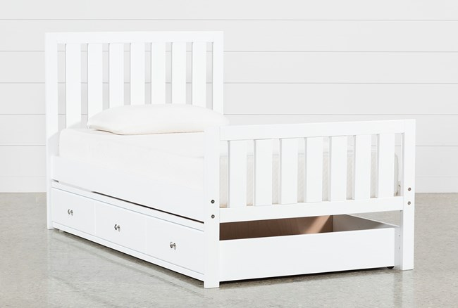 Taylor White Twin Slat Panel Bed With Trundle - 360