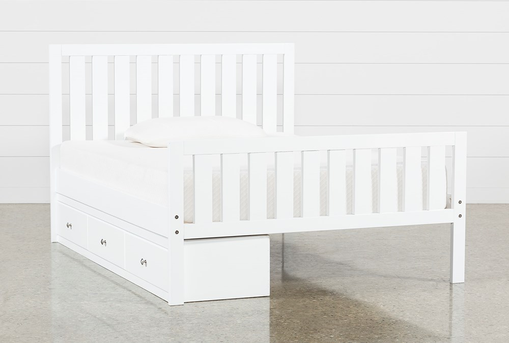 Taylor White Full Slat Panel Bed With 3- Drawer Storage