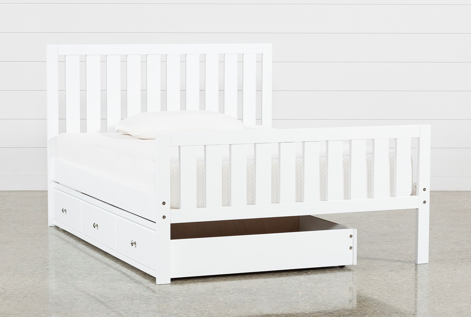 Taylor White Full Slat Panel Bed With Trundle | Living Spaces