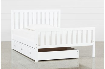 Taylor White Full Slat Panel Bed With Trundle