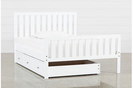 Taylor White Full Slat Panel Bed With Trundle - Main
