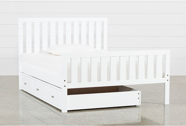 Taylor White Full Slat Panel Bed With Trundle - 360
