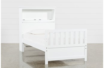 Taylor White Twin Bookcase Bed With USB