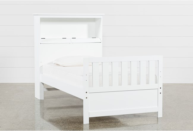 Taylor White Twin Bookcase Bed With USB - 360