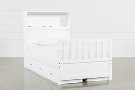 Taylor White Twin Bookcase Bed With Double 3-Drawer Storage and USB