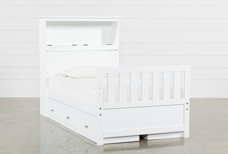 Taylor White Twin Bookcase Bed With Double 3- Drawer Storage