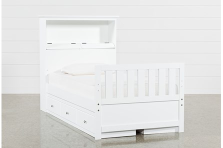 Taylor White Twin Bookcase Bed With Double 3- Drawer Storage - Main