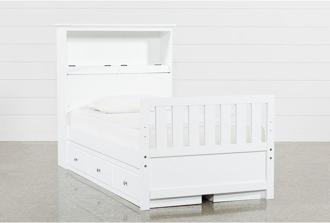 Taylor White Twin Bookcase Bed With Double 3-Drawer Storage and USB - 360