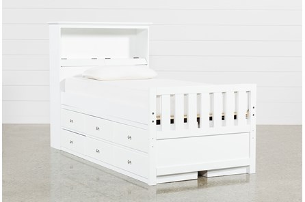 Taylor White Twin Bookcase Bed With Double 6- Drawer Storage - Main