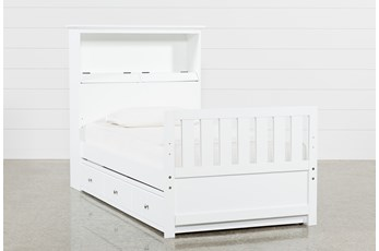 Taylor White Twin Bookcase Bed With Trundle and USB