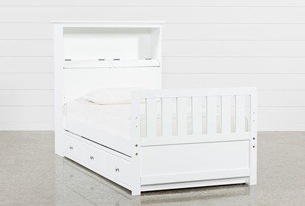 Taylor White Twin Bookcase Bed With Trundle