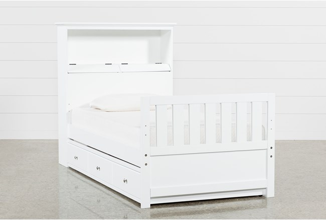 Taylor White Twin Bookcase Bed With Trundle and USB - 360