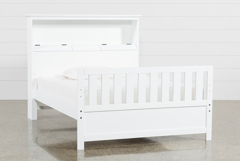 Taylor White Full Bookcase Bed With USB