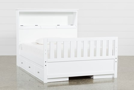 Taylor White Full Bookcase Bed With Double 3- Drawer Storage