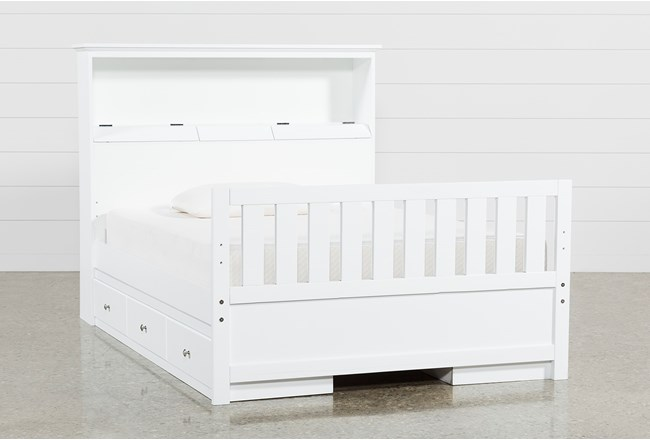 Taylor White Full Bookcase Bed With Double 3-Drawer Storage and USB - 360