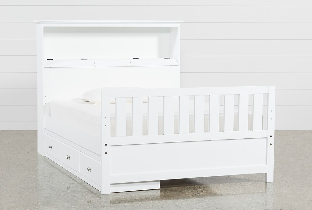 Taylor White Full Bookcase Bed With Single 3-Drawer Storage and USB