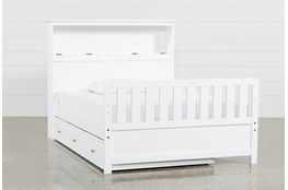 Taylor White Full Bookcase Bed With Trundle and USB