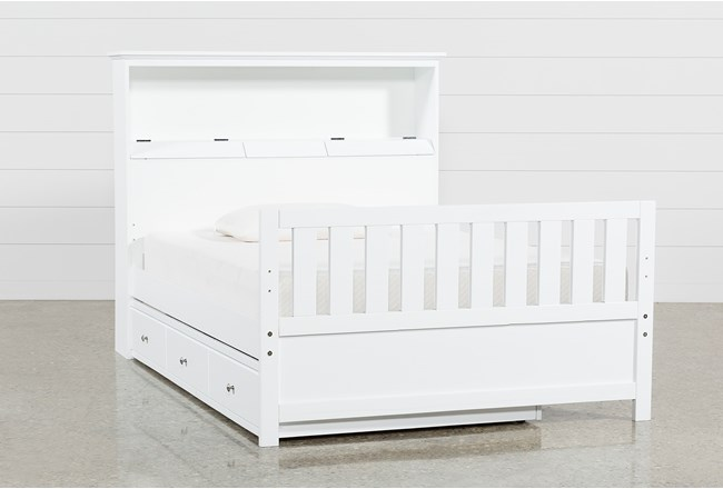 Taylor White Full Bookcase Bed With Trundle and USB - 360