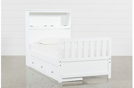 Taylor White Twin Bookcase Bed With Single 3-Drawer Storage and USB