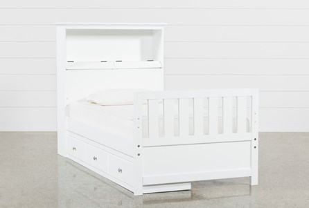 Taylor White Twin Bookcase Bed With Single 3- Drawer Storage