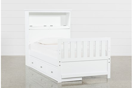 Taylor White Twin Bookcase Bed With Single 3- Drawer Storage - Main