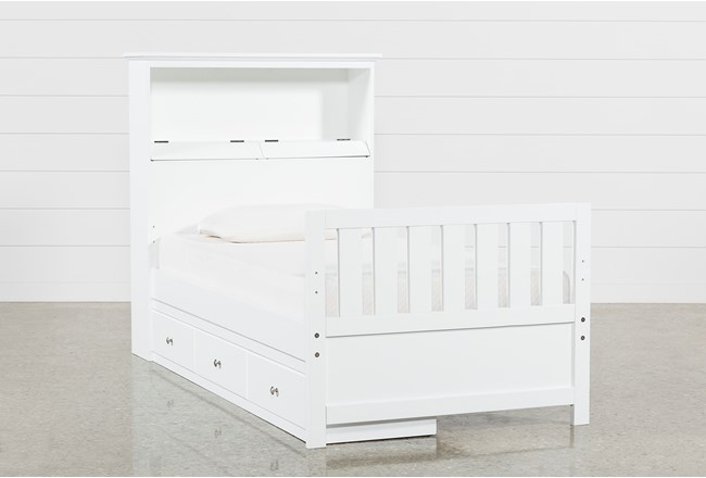 Taylor White Twin Bookcase Bed With Single 3-Drawer Storage and USB - 360