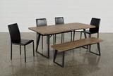 Cintra 6 Piece Dining Set W/Hayden Black Chairs - Top