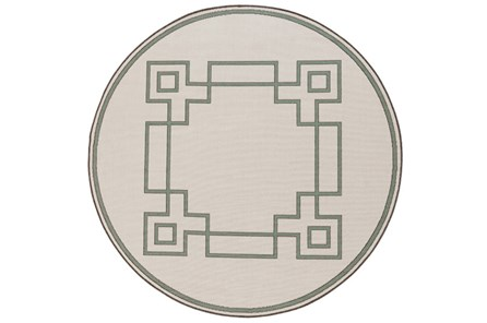 63 Inch Round Outdoor Rug-Greek Key Border Sage