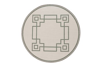 87 Inch Round Outdoor Rug-Greek Key Border Sage