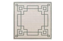 87X87 Square Outdoor Rug-Greek Key Border Sage
