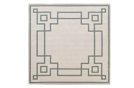 87X87 Square Outdoor Rug-Greek Key Border Sage