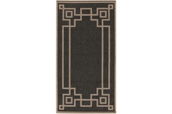 27X54 Outdoor Rug-Greek Key Border Black